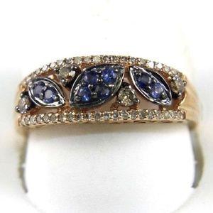 Leaf Blue Sapphire Diamond Ring Band 14K RG .46Ct